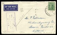 Lot 642:Aust Army P.O. 'AUST ARMY P.O./10SE44/230.' (Darwin APO, NT) on 4d Koala on air cover to Moonee Ponds, Vic, with light boxed 'AUSTRALIAN/MILITARY FORCES