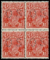 Lot 508:1½d Red Die II BW #91bb block of 4, perf 'OS', Cat $100.