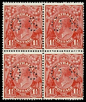 Lot 2632:1½d Red Die II - BW #91bb block of 4, perf 'OS', Cat $100, slight vertical perf separation at base.