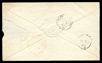 "Lot 19908 [2 of 2]:1861 envelope, cancelled with 'MINDEN/U.C.' (A1-), bearing straight-line 'PAID ""5 cents""' (A1), backstamped with 'BOBCAYGEON/MY21/61/U.C' (C1), 'OMEMEE/MY22/1861"