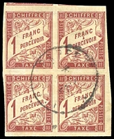Lot 21403:1893-1908 New Colours SG #D81 1f red/buff block of 4, Cat £52, light 1925 Papeete cancel.