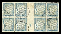 Lot 21399:1893 New Colours SG #D73 5c light blue, gutter block of 8 with sheet number '3', some toning. calncelled in Tahiti