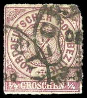 Lot 19561:1868 Numeral in Circle Mi #1a ¼g brown-violet, 3-margins, Cat €15.