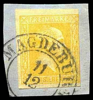 Lot 18972:1858-60 Wilhelm IV Quadrille Background Mi #12a 3sgr yellow-orange, Cat €18, cancelled with double-circle 'MAGDEBURG/11/12/[?]