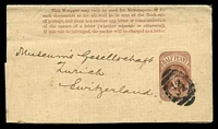 Lot 22443:1879 QV Dates Removed HG #E7 ½d brown, instructions in 5 lines, Huggins & Baker #WP14, to Switzerland.