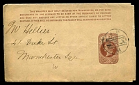 Lot 22444:1889 New QV HG #E9 ½d brown, instructions in 4 lines, to Manchester.