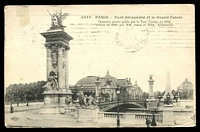 Lot 438:France: Deley black & white PPC of 'PARIS - Pont Alexandre et le Grand Palais', franked with 10c sower, cancelled with light Paris machine, to Bendigo, Vic, edge wear.