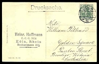 Lot 469 [2 of 2]:Germany: Hölzermann sepia PPC of 'Köln a. Rh. Dom-Hotel.', franked with 5pf green Germania, cancelled with double-circle 'COLN/23.4.13 5-6N/*11c' (A1-), to Bendigo, Vic.