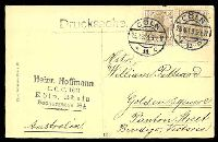 Lot 468 [2 of 2]:Germany: Hölzermann sepia PPC of 'Köln a. Rh./Partie am deutschen Ring.', franked with 3pf brown Germania x2 (Overpaid), cancelled with double-circle 'COLN/23.4.13 5-6N/*11c' (A1), to Bendigo, Vic, some mild insect damage to face of card at top.