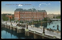 Lot 69 [1 of 2]:Netherlands: coloured PPC of 'Koogesluis met Amstel-Hôtel, Amsterdam', 7½c brown & 5c red Wilhelmina, cancelled with double-circle 'AMSTERDAM/11-12v/20·1/1922/***' (A1-) machine, to Canterbury, Vic, some toning on reverse.