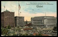Lot 644 [1 of 2]:United States of America: Braun coloured PPC of 'Public Square, showing New Post Office,/Chamber of Commerce and Society for Saving Buildings,/Cleveland/Sixth City', franked with 1c green Washington, cancelled with Cleveland machine of AUG9 1913, to New Plymouth, Idaho, some corner wear.