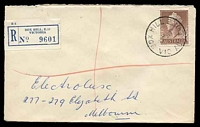 Lot 2358 [1 of 2]:Box Hill: - WWW #80A 'BOX HILL E.11/15MR58/VIC-AUST', (arcs 1½,2) on 1/7d brown QEII, on cover to Melbourne with blue C6 registration label [Rated 2R]  PO 1/2/1861; replaced by Box Hill Business Centre BC c.-/10/1991.