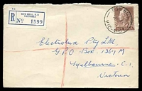 Lot 2487 [1 of 2]:Box Hill: - WWW #78A 'BOX HILL/5AU57/VIC-AUST' (arcs 6,5), on 1/7d brown QEII, on cover to Melbourne with blue C6 registration label. [Rated 4R]  PO 1/2/1861; replaced by Box Hill Business Centre BC c.-/10/1991.