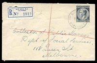 Lot 2636 [1 of 2]:Box Hill: - WWW #78A 'BOX HILL/19AU53/VIC-AUST' (A1 backstamp, arcs 6,5) on 1/0½d blue KGVI on cover to Melbourne with blue C6 registration label, filing hole. [Rated 4R]  PO 1/2/1861; replaced by Box Hill Business Centre BC c.-/10/1991.