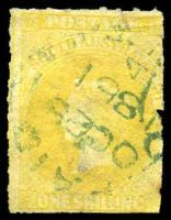 Lot 2045:1860-69 Second Roulettes SG #38 1/- yellow, Cat £28, cancelled with blue unframed 'PAID/OC25/1861/4/[ADELA]IDE.S.A