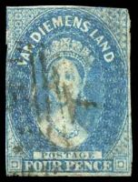 Lot 1738:1857-69 Imperf Chalon Wmk Double-Lined Numeral SG #37 4d blue, Cat £27, 2 margins.