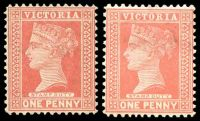 Lot 2080:1899-1901 Stamp Duty Wmk 4th V/Crown SG #357,a 1d rose-red & 1d rosine, Cat £12.