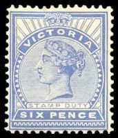 Lot 10089:1899-1901 Stamp Duty Wmk 4th V/Crown SG #365 6d dull ultramarine, Cat £12, hint of toning at top edge.