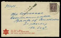Lot 1311:Lindfield R.A.A.F. P.O.: - 'R.A.A.F. 4103/20JE44/AUSTRALIA' on 1d purple-brown QE on ACF cover to Sydney, with black straight-line 'R.A.A.F./Concession Postal Rates' (A1-).  PO 1/8/1940; renamed Bradfield PO 1/1/1951.