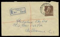 Lot 2434 [1 of 2]:Coburg: - WWW #230A 'COBURG N.13./21NO58/VIC-AUST' (arcs 1½,3½, A1- backstamp), on 1/7d brown QEII on registered cover to Melbourne. [Rated 2R]  Renamed from Pentridge PO 22/1/1870.