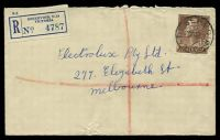 Lot 3226 [1 of 2]:Reservoir: - WWW #10A 'RESERVOIR/20SE58/VIC' on 1/7d brown QEII on registered cover to Melbourne, closed tear at base.  RO c.1921; PO 11/10/1926.