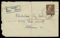 Lot 3296 [1 of 2]:Warrnambool: - WWW #160A 'WARRNAMBOOL/9AU58/VIC.AUST.' (arcs 4,4 - A1 backstamp) on 1/7d brown QEII on registered cover to Melbourne, insect damage to left edge.  PO 1/1/1849.