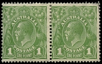 Lot 713:1d Green - BW #82(4)o [VIII/25] NY joined in pair, Cat $30+.