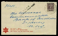Lot 5681:Lindfield R.A.A.F. P.O.: 'R.A.A.F. 4103/20JE44/AUSTRALIA' on 1d purple-brown QE on ACF cover to Sydney, with straight-line 'R.A.A.F./Concession Postal Rates' (A1-) in black.  PO 1/8/1940; renamed Bradfield PO 1/1/1951.