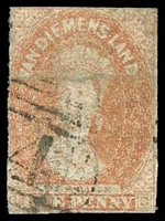 Lot 10253:1857-69 Imperf Chalon Wmk Double-Lined Numeral SG #28 1d dull vermilion, Cat £24, 2-margins, horizontal crease.
