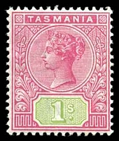 Lot 1744:1892-99 Tablets Wmk TAS Perf 14 SG #221 1/- rose & green.