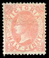 Lot 1952:1885-95 Naish Stamp Duty Wmk 2nd V/Crown Perf 12½ SG #296 ½d pale-rosine, Cat £13, some wear to top edge.
