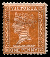 Lot 1638:1886-96 New Stamp Duty Designs Wmk 2nd V/Crown SG #313b 1d orange-brown, Cat £12, heavy hinged.