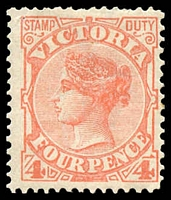 Lot 2178:1886-96 New Stamp Duty Designs Wmk 2nd V/Crown SG #316a 4d red, Cat £14.