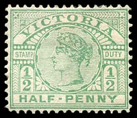 Lot 2179:1896-99 New Stamp Duty Designs Wmk 3rd V/Crown SG #331 ½d emerald, Cat £16, slight toning to 1 perf at left.