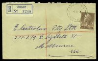 Lot 2631 [1 of 2]:Charlton (2): - WWW #110A 'CHARLTON/1SE59/VIC-AUST' (arcs 8,7), on 1/7d brown QEII on registered cover to Melbourne.  Renamed from Charlton East PO 1/9/1879; LPO 7/7/1993.
