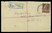 Lot 2665 [1 of 2]:Coburg: - WWW #180A 'COBURG N.13/1/18OC57/VIC-AUST' (A1- backstamp), on 1/7d brown QEII on registered cover to Melbourne. [Rated 2R]  Renamed from Pentridge PO 22/1/1870.
