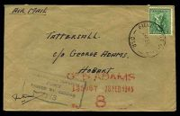 Lot 887:Field Post Office 'FIELD POST OFFICE/26FE45/038.' (Ravenshoe, Qld) on 4d Koala on air cover to Tatts, with blue boxed 'AUSTRALIAN IMPERIAL/FORCE/PASSED BY CENSOR/113' (A1-).