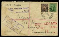 Lot 902 [1 of 2]:Field Post Office 'FIELD POST OFFICE/15FE45/038.' (Ravenshoe, Qld) on 4d Koala & 3d brown KGVI on air cover to Tatts, with unframed 'Aust. Army Postal Service/FPO/REG. No.' (B1) handstamp in purple & boxed 'AUSTRALIAN/MILITARY FORCES/PASSED BY CENSOR/3576' (A1-) in purple, creased & water damaged, small closed tear at right.