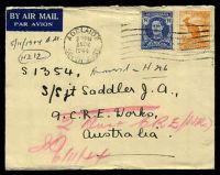 Lot 885 [2 of 2]:Aust Unit Postal Stn 'AUST UNIT POSTAL STN/6NO44/415' (Brisbane, Qld), arrival backstamp on air cover from Adelaide, SA, franked with 3½d blue KGVI & ½d Roo, small closed tear at top.