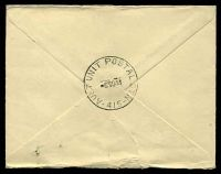 Lot 885 [1 of 2]:Aust Unit Postal Stn 'AUST UNIT POSTAL STN/6NO44/415' (Brisbane, Qld), arrival backstamp on air cover from Adelaide, SA, franked with 3½d blue KGVI & ½d Roo, small closed tear at top.