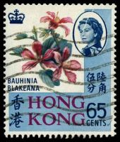 Lot 3756:1968-73 Wmk Sideways SG #254a 65c Bauhinia blakeana, Cat £21, mild paper damage at TRC near QEII portrait