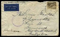 Lot 895:A.I.F. Field P.O. light 'A.I.F. FIELD P.O./20FE42/NO.9.' (Khassa, Palestine) on 9d Platypus on air cover to Tamworth, NSW, with crowned circle 'PASSED BY CENSOR/No./6