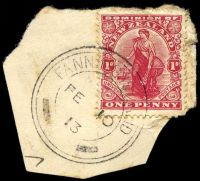 Lot 3832:Fanning Island: triple-circle 'FANNING ISLAND/FE10/13/- -' (NZ removed), on NZ 1d Dominion on small piece with some toning.  PO 29/11/1902.