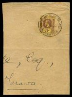Lot 4111:Funafuti: 'GILBERT AND ELLICE ISLANDS/18AU33/POST OFFICE/FUNAFUTI', on 3d purple on yellow KGV, on large piece to Tarawa.  PO c.1911.
