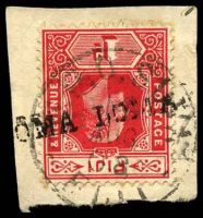 Lot 3735:Loma Loma (1): straight-line '[L]OMA LOMA' on 1d red KEVII overstamped with 'G.P.O. SUVA/14/AUG/08/FIJI' (A2-). [Rated 100 by Proud]  PO c.1872; closed c.1908.