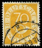 Lot 22721:1951 Posthorn Mi #136 70pf yellow-orange, Cat €19.