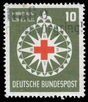 Lot 4096:1953 Red Cross Mi #164 10pf dark olive-green & red.
