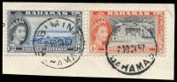 Lot 17814:Bimini: 'BIMINI/23OCT57/BAHAMAS', on 1½d & ½d QEII Pictorials.