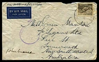 Lot 5344:A.I.F. Field P.O. light 'A.I.F. FIELD P.O./20FE42/NO.9.' (Khassa, Palestine) on 9d Platypus on air cover to Tamworth, NSW, with crowned circle 'PASSED BY CENSOR/No./6