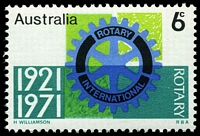 Lot 3308:1971 Rotary BW #557i Comet flaw left of 'T' of 'ROTARY' [RP 6/2].